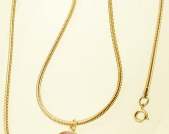 "19.5"" yellow gold (filled) straight-style rope-link vintage pocket watch chain with a red Indian fob"