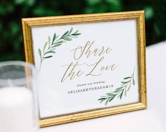 Instagram Sign, Hashtag Sign, Social Media, Share the Love Sign, Wedding Signs, If You Instagram | Edit in Word or Pages
