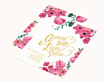 Bohemian Hand Painted Wedding Invitations