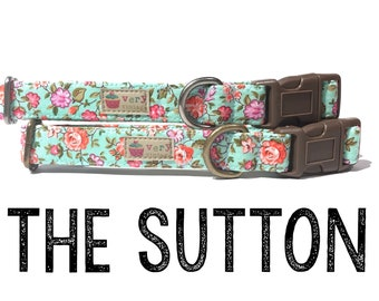 "Shabby Chic Seafoam Green Pink Coral Purple Floral Flowers Dog Collar - Antique Metal Hardware - ""The Sutton"""