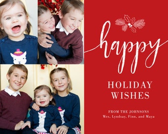 Happy Holiday Wishes Printable 5x7 Christmas Card with Photos