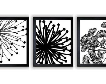 Black White Flower Print Flowers Dandelion Set of 3 Art Prints Wall Decor Bathroom Modern Minimalist