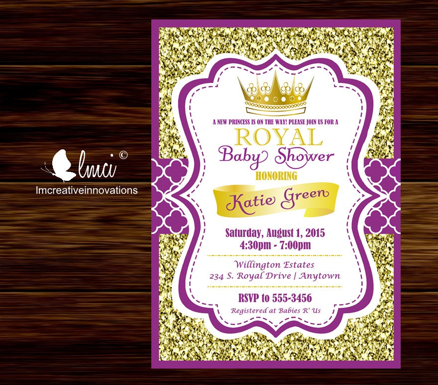 Purple and Gold Royal Baby Shower Invitation Little Princess