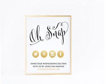 Oh Snap HashTag Sign For Wedding, Personalized Sign With Your Wedding Hashtag, Social Media Icons, Wedding Decor