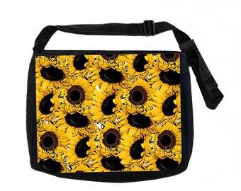 Sunflowers Black School Shoulder Messenger Bag