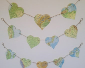 Map Paper Bunting | Heart Bunting Set l Vintage Map Garland | Travel Theme Decor | Housewarming | Party Decoration l Shabby Chic