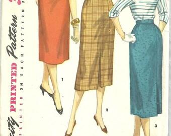 Simplicity 1345 / Vintage 50s Sewing Pattern / One Yard Skirt / Waist 26