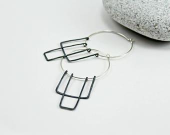 Rectangle oxidized silver earrings  Silver hoop earrings Geometric sterling silver earrings