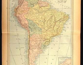 Map South America Map LARGE Continent Original Late 1800s