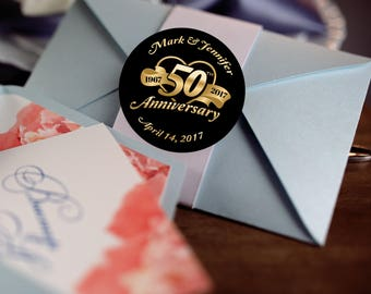 50th Anniversary Stickers, Custom Labels - Round Wedding labels -  Anniversary stickers - Wedding Favor Stickers - Thank You Stickers