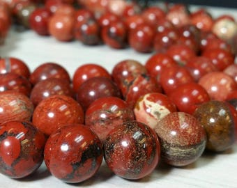 WHOLESALE Natural Red Jasper 6, 8, 10 or 12 mm Smooth Round Gemstone Beads - Full Strands (G0703R18222838-MS-BH12m)