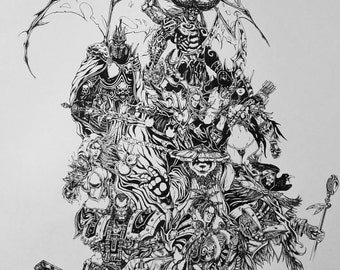 WARCRAFT Inking POSTER author PRINT