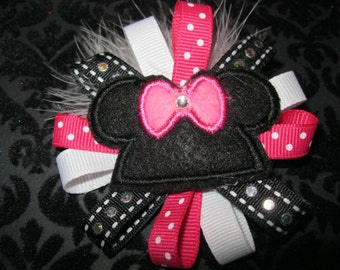 Pink Mouse Ears Alligator clip