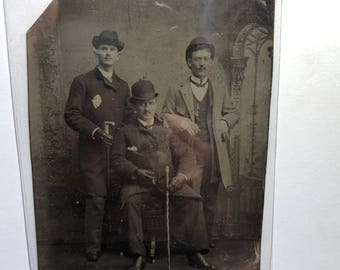 3 Handsome Well Dressed Brothers with Canes - Vintage Tintype Photograph - Authentic - (Dated between 1850 - 1920) Item:TT18020