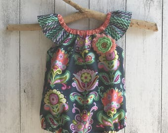 Free Spirit Romper - Bright Hearts, matching brooch or headband Sizes 0000 to 2