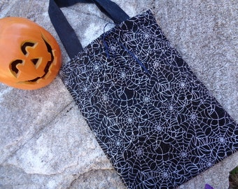 The Web -  Cotton Fabric Reuseable Halloween Candy Tote Bag