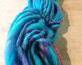 Art Yarn handspun Merino turquoise and cerise