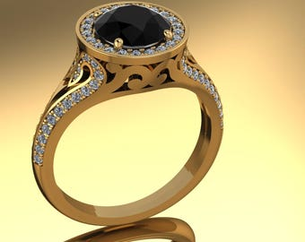 14K Yellow Gold With 1.82CT Black Diamond Center Stone Ring  SH-RG1011