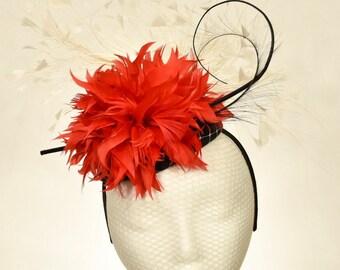 Black, Red, & White, Sinamay Kentucky Derby Fascinator