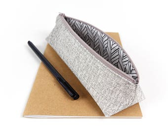 Silver Fabric Pencil Pouch Small Metallic Silver Pencil Case Stationary Gift Accessory Storage Makeup Brush Holder Gift for Girls