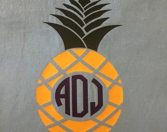 Pineapple monogram tshirt, personalized, custom