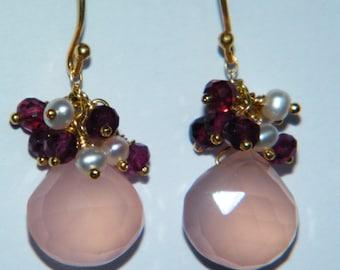 Pink cluster earrings, pink drop earrings, delicate earrings, pink chalcedony jewelry, Valentine's day gift for women