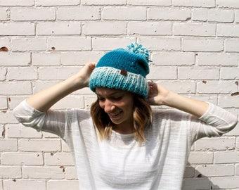 Ombre Slouchy Beanie | Knit Pom Pom Winter Hat