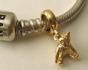 Genuine SOLID 9K 9ct YELLOW GOLD Charm Teddy Bear Drop Bead
