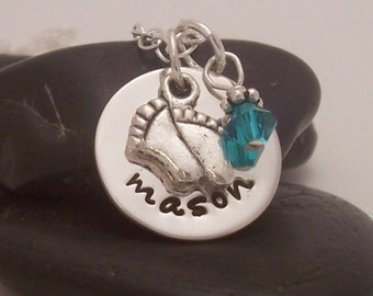 Sweet Baby - sterling silver Mother's hand stamped necklace