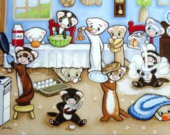 Cozy Kitchen - Ferret Art Print - by Shelly Mundel