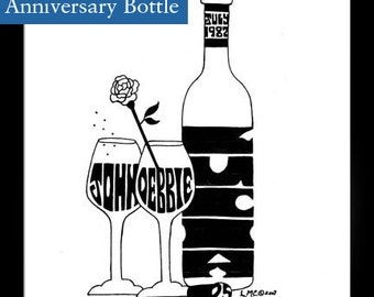 Personalized Silhouette Anniversary bottle of wine with rose