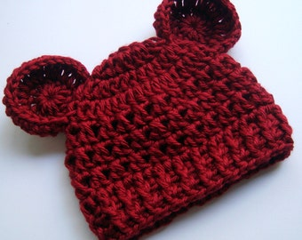 Crochet Baby Hat, Baby Hat with Ears,  Newborn Crochet Hat,  Animal Hats,  Baby Girl Hat, Baby Girl, Crochet Hat, Autumn Red,  MADE TO ORDER