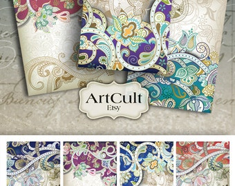 Digital Collage Sheet ORNATE FRAMES Printable Instant Download 2.5x3.5 inch size images Jewelry holders Gift Tags scrapbooking paper ArtCult