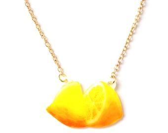 Lemon Fruit Necklace - Pendant, Tropical, Yellow