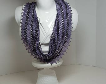 Handwoven beaded scarf in shades of purple(a scarf made completely of beads)