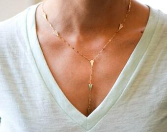 Delicate Gold Arrow Lariat Necklace // Petite Spike // Arrow Necklace // Modern Gold Lariat // Gold Y Necklace