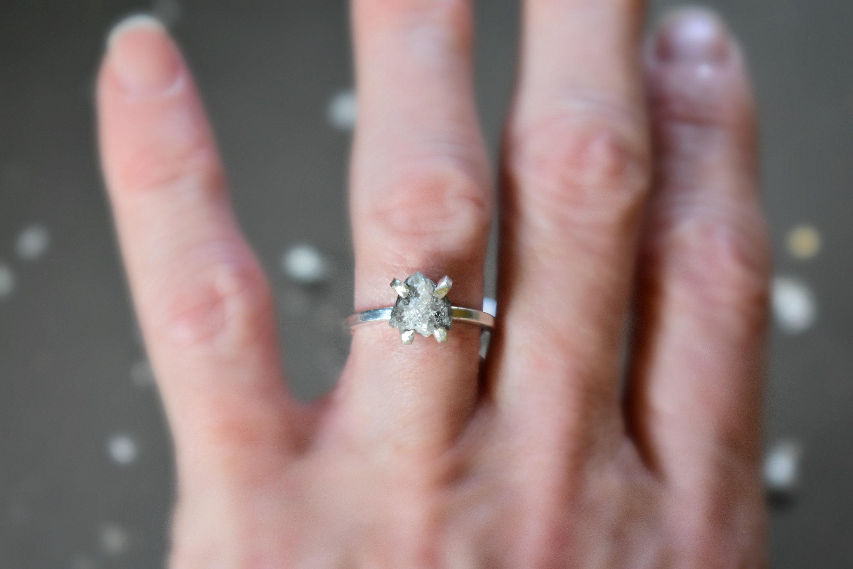 Raw Diamond Engagement Ring, Large Uncut Diamond and Sterling ...