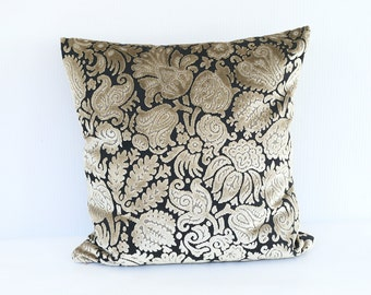 "Designer Pillow COVER, One Velvet Chenille pillow case, Custom Floral Black Taupe Decorative Custom Deluxe pillow case 18""x18"""