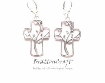 Silver Cross Earrings - Sterling Silver Tree of Life Cross Earrings - Christian Earrings - Cross Earrings - Cross Jewelry