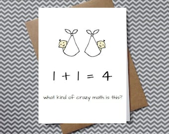 twins congratulations card, funny baby shower card for mom expecting twins, card for new baby twins