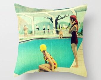 Mid Century Pillow Covers 18x18, Beach Decor Pillows, Coastal Pillows, Summer Pillows, Beach Pillows, Coastal Pillow Decor Mid Century Beach
