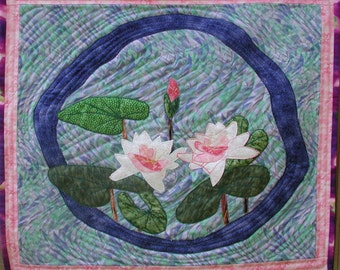 Water Lilies Quilted Fiber Art Wall Hanging