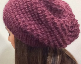 maroon wool and alpaca slouchy beanie