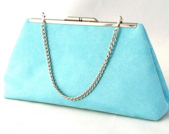Gorgeous Turquoise Suede Clutch Purse  ~ Ready to Ship