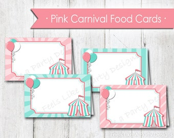 Pink Carnival Food Tents - Instant Download