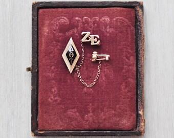 Vintage 10k Gold Sorority Pin - 1930s Delta Theta Tau Zeta Epsilon chapter - gavel with tiny seed pearls - by LGB Balfour Co