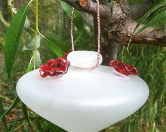 Recycled glass hummingbird feeder // Upcycled // Nature Gifts // Bird Feeder