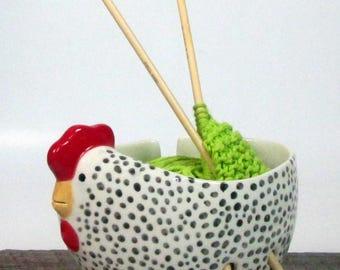 Hen Yarn bowl Pottery Ceramic Gift knitter Knitting bowl Ready to ship