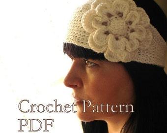 PATTERN - Headband With Flower Crochet Pattern