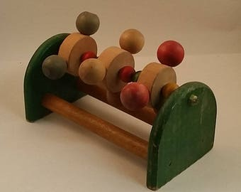 Vintage Strombecker Wood Paddy Wack Toy -- Spinner, Primary Colors -- 1940s, Baby / Toddler Toy for Nursery Decor,  Display, Collection